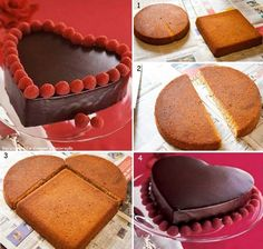 Creative Ideas - DIY Heart-Shaped Cake without a Heart-Shaped Pan - Tartas - Gateau Heart Shaped Cakes, Heart Cakes, Valentines Day Desserts, Valentine Cake, Valentine Heart, Cake Cookies, Cupcake Cakes, Cake Recipes, Dessert Recipes