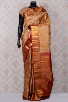 #Beige pretty #kanchipuram silk #saree with gold border-SR18601 -#PURE KANCHIPURAM SILK SAREE #Sarees