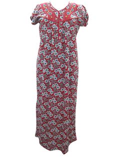 Red Hosiery Cotton Maxi Nightgown Summer Boho Gypsy Nighty