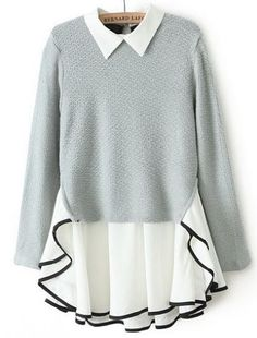 Grey Long Sleeve Contrast Chiffon Ruffle Knit Dress pictures