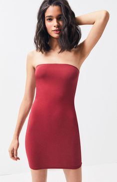 e414120f4c03 Show off your figure in the Strapless Bodycon Dress by Kendall and Kylie.  Made from a stretchy knit fabric, this mini dress is complete with a  strapless ...
