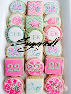 Graduation/Birthday Cookies Lily Pulitzer inspired Colors