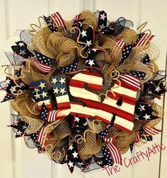 USA Deco Mesh Wreath Patriotic Wreath Summer by thecraftyattic