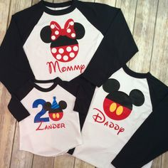 Any Age Disney Family Birthday Shirts/ Birthday Mickey Minnie Mouse Family T Shirts/ Baseball Raglan tees by ELMTreeTots on Etsy https://www.etsy.com/listing/488634802/any-age-disney-family-birthday-shirts