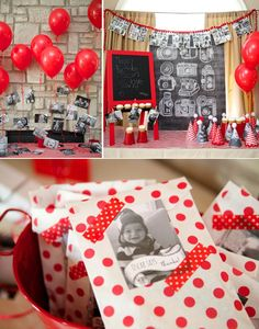 "INSTAGRAM THEMED PARTY! ""A year in an instant!"" So many cute ideas! Via Karas Party Ideas KarasPartyIdeas.com #instagram #party #ideas #first #birthday #year #decor #supplies #cake #red #black #white"