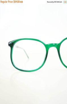 ON SALE 1970s Round Emerald Green Eyeglasses by OliverandAlexa Oversized  Glasses 4e19aab38f