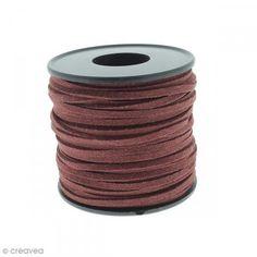 Cordón terciopelo - 3 mm - Rojo burdeos - Por 1 m (a medida) - Fotografía n°1