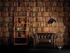 "This is library wallpaper!! [Library wallpaper (ref L04A-MULTI) from andrewmartin.co.uk.] From: ""Interiors: faking it - in pictures. Fancy an instant New-York style exposed brick wall, elegant Georgian panelling or a library of antique books? Then cheat."""