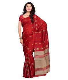 4b4cddd7803 Art Silk Saree in Red and golden color. - Online Shopping for Designer  Sarees by Muhenera
