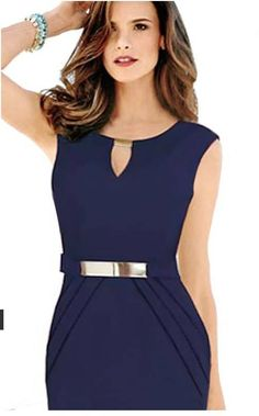 Women& Pure Color Sleeveless Round Collar V-Neck Cultivate One& Morality Dress Ball Gown Dresses, I Dress, Peplum Dress, Types Of Dresses, Short Dresses, Classic Outfits, Costume Dress, Blouse Designs, Dress To Impress