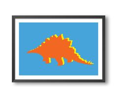 This kids art print is the perfect way to add a burst of color and style to your kids bedroom or playroom. A plodding Stegosaurus is a cute