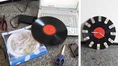 DIY: Relógio | disco de vinil | dominó  via homensdacasa