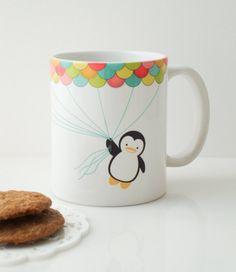 Fly High Penguin Mug Cup. $20.00, via Etsy.