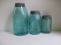 3 Old Blue Glass Ball Jars Zinc Lids Half Gallon Quart Pint Canister Wedding Farmhouse