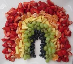 Rainbow of fruit...put a dollop of fruit dip on the bottom for a cloud!