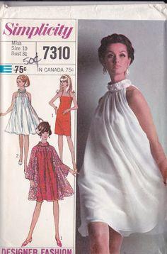 Simplicity 7310 Vintage Pattern 60s Go Go Dress and Overdress Cupie Dress Size 10  UNCUT