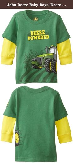 John Deere Baby Boys' Deere Powered Long Sleeve Tee, Green, 12 Months. Long sleeve tee with large tractor graphic and contrast sleeves.