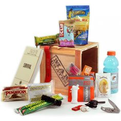Everything you need to make your way through the American wilderness.  Bear Gryll's survival kit, plus tons of supplemental snacks, an emergency blanket, and Gatorade- just in case he's not as comfortable drinking bodily fluids as Bear.
