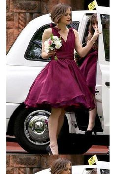 Cheap cheap bridesmaid gowns, Buy Quality bridesmaid gown directly from China burgundy bridesmaid dresses Suppliers: Short Burgundy Bridesmaid Dresse Deep V Neck Chiffon Cheap Bridesmaid Gowns 2017 Winter Puffy Formal Party Gowns Bridesmaid Dresses Marsala, Knee Length Bridesmaid Dresses, Red Bridesmaids, Burgundy Bridesmaid Dresses, Keira Knightley, Celebrity Dresses, Celebrity Style, Wedding Party Dresses, Dress Party