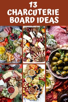 13 Charcuterie Board Ideas for Easy Entertaining Charcuterie Boards are trendy for a reason: they're an easy and fun way to entertain! Check out these 13 charcuterie board ideas for your next party or get-together! Charcuterie Recipes, Charcuterie And Cheese Board, Charcuterie Platter, Cheese Boards, Appetizers For A Crowd, Appetizer Recipes, Holiday Appetizers, Appetizers For Dinner Party, Easy Dinner Party Recipes
