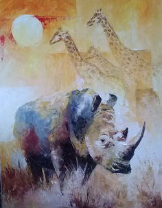 African Wildlife White Rhino by christiaanbekker on Etsy, $125.00