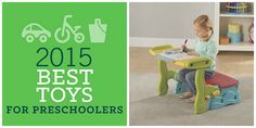 """BigCityMoms: 2015 Best Toys for Preschoolers article features our 3-in-1 Storage Bench as one of the """"hottest and newest toys to hit the market this year.""""   """"From arts and crafts, to eating, reading and more.  This 3-in-1 preschool furniture converts from a two-seater bench to table and chair combo with roomy storage bin base. It's great for both indoor and outdoor use making it great for all year long!"""""""