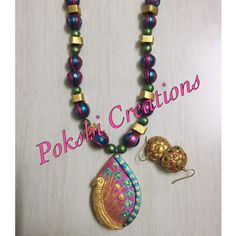 Terracotta Jewellery - peacock Blue, Pink & Gold
