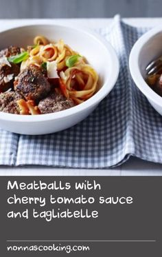 Get dinner on the table in under half an hour with The Hairy Bikers' quick meatballs recipe. Using tinned cherry tomatoes gives the pasta sauce a fresh and sweet flavour. Cherry Tomato Recipes, Cherry Tomato Sauce, Tomato Sauce Recipe, Cherry Tomatoes, Easy Pasta Recipes, Quick Dinner Recipes, Quick Meals, Beef Dishes, Pasta Dishes