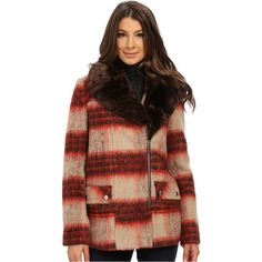 Kenneth Cole New York Plaid Wool Asymmetrical Zip Front Coat (Brown) ($66) ❤ liked on Polyvore featuring outerwear, coats, brown, asymmetrical coat, brown wool coat, long sleeve coat, brown coat and plaid wool coat