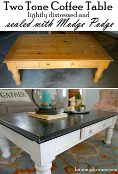 Kammy's Korner: Two tone Coffee Table Redo with DIY chalk paint & Antique Mirror Tray Vignette