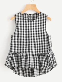 Young Gingham Peplum Regular Fit Round Neck Sleeveless Black and White Buttoned Keyhole Tiered Hem Gingham Shell Top Vestido Crop Top, Crop Top Dress, Sleeveless Crop Top, Peplum Blouse, Latest Fashion For Women, Kids Fashion, Fashion Outfits, Women's Fashion, Shell Tops