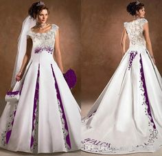 330.00$ Watch here - http://viraf.justgood.pw/vig/item.php?t=m8v81k15529 - Purple And White Wedding Dress A Line Satin Lace Embroidery Court Train