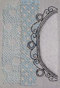 ~ Victoria Belcher - Serenity - hand embroidery in cotton perle on cotton background with wool felt applique