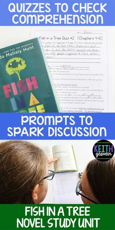 Quizzes and writing prompts for fish in a tree. the writing prompts also make excellent discussion starters. 4th Grade Writing, 4th Grade Reading, Kindergarten Writing, Teaching Reading, Fish In A Tree, Writing Prompts, Writing Ideas, Book Study, Readers Workshop