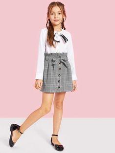 Girls Paperbag Waist Button Up Plaid Skirt With Belt - Cute Outfits Preteen Girls Fashion, Girls Fashion Clothes, Little Girl Fashion, Little Girl Dresses, Kids Fashion, Girls Dresses, Fashion Outfits, Kids Clothing, Cute Girl Outfits