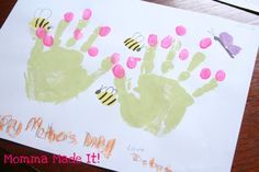 paint handprint fairy | Momma Made it!: Mothers Day Kid Craft! Hand Print Garden!