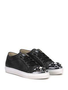 STOKTON - Sneakers - Donna - Sneaker in pelle stampa rettile effetto laminato con strass su puntale e suola in gomma. Tacco 25. - NERO\PIOMBO