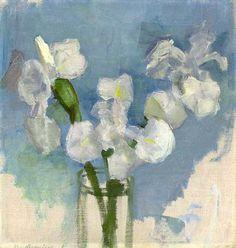 White Irises against a Blue Background, circa 1909, Piet Mondrian