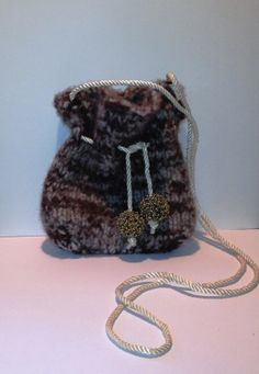 Hand Knit Felted Brown and Off White Marled by ChixThatStitch, $25.00
