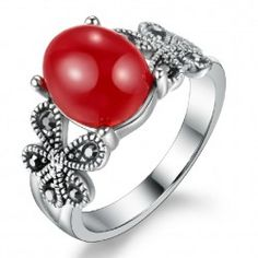 Royal Vintage Red Agate Ring Electroplated Silver Alloy - USD $59.95