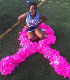What a cute cheerleader pose for breast cancer awareness month Youth Cheerleading, Cute Cheerleaders, Childhood Cancer, Camden, Breast Cancer Awareness, Poses, Fashion, Figure Poses, Moda