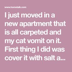 I just moved in a new apartment that is all carpeted and my cat vomit on it. First thing I did was cover it with salt and vacummed it up the next day but it lef…