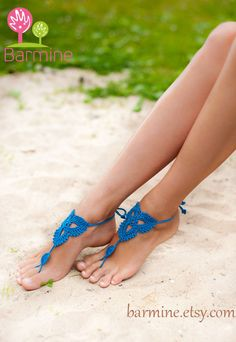 Crochet Blue Barefoot Sandals-Nude shoes-Foot by barmine on Etsy