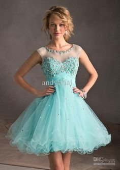 Wholes - Elegant Sheer Sweetheart Short Puffy Ball Gown Homecoming Dresses With Beading Embroidery Sexy Open BacK Mini Cocktail Gown 2014