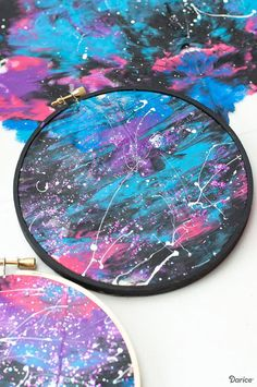DIY Galaxy Painting Tutorial: Embroidery Hoop Art for Kids – Darice – Galaxy Art Painting Crafts For Kids, Space Crafts For Kids, Diy For Kids, Crafts To Make, Kids Crafts, Craft For Tweens, Craft Art, Craft Ideas, Galaxy Crafts