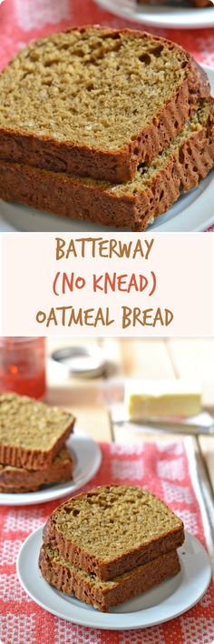 Batterway (No Knead) Oatmeal Bread | A fluffy and tender no knead bread that both bread-baking beginners and aficionados will adore. Molasses and oats add rich, complex flavor. Find recipe at redstaryeast.com.
