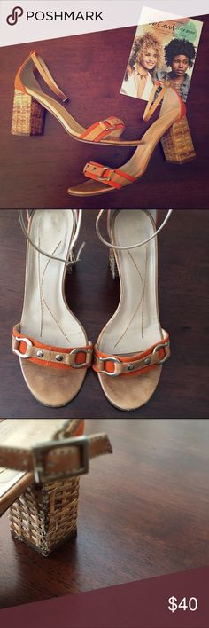 Kate Spade Orange Gold Strap Wood Heels Get in the Halloween and Fall spirit! 🎃 🍂Used condition, but has a lot of life left!! Heel is fraying a bit (see pic), right shoe doesn't have a needle in ankle adjustment (see same pic) still closes just fine. Heel:3'. Insole: 9.5' Width: 3.25'. kate spade Shoes Heels