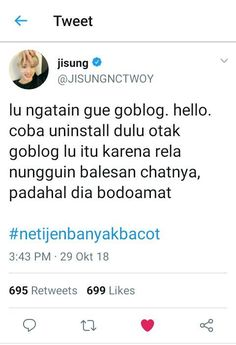 #wattpad #acak Bacotan Idol Di twitter pada rame bacot 🍑 EXO 🍑 BTS 🍑 NCT 🍑 GOT7 🍑 IKON Funny Tweets Twitter, Twitter Quotes, Quotes Lucu, Jokes Quotes, Reminder Quotes, Mood Quotes, Pick Up Line Jokes, All Meme, Text Pictures
