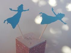 8 Blue Wendy Cupcake Toppers Birthday Party, Peter Pan, Pan Food Picks  #birthday