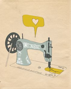 "For my someday craft room!    Sewing Machine Print Art ""I AM SEW CREATIVE"" 8x10 Yellow Vintage Inspired Decor Modern Art Print. $19.00, via Etsy."